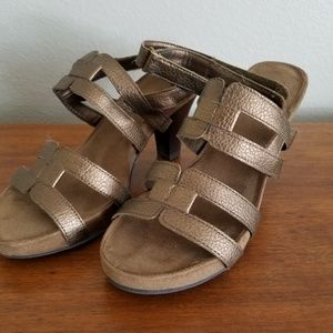 Aerosoles A2 strappy sandals in bronze leather